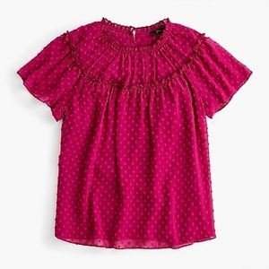 J.crew Pink Gathered bib top in drapey swiss dot